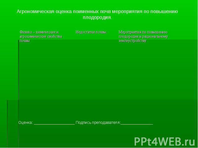 Агрономическая оценка поименных почв мероприятия по повышению плодородия. Оценка: ___________________ Подпись преподавателя:_______________