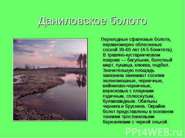 Даниловское болото Переходные сфагновые болота, неравномерно облесенные сосной 30-60 лет (4-5 бонитета). В травяно-кустарничковом покрове — багульник, болотный мирт, пушица, клюква, подбел. Значительную площадь заказника занимают сосняки зеленомошны…