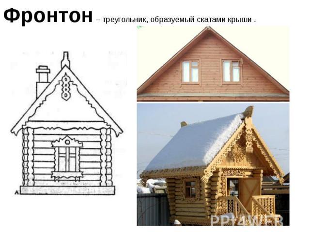 Фронтон – треугольник, образуемый скатами крыши .