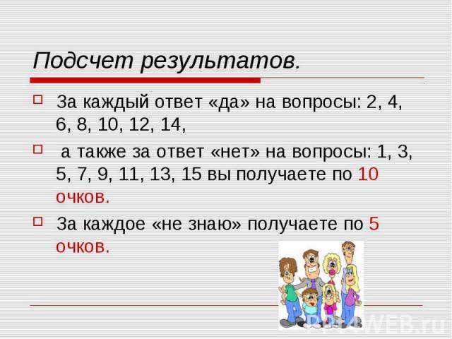 Подсчет результатов.За каждый ответ «да» на вопросы: 2, 4, 6, 8, 10, 12, 14, а также за ответ «нет» на вопросы: 1, 3, 5, 7, 9, 11, 13, 15 вы получаете по 10 очков. За каждое «не знаю» получаете по 5 очков.