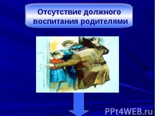 Отсутствие должного воспитания родителями