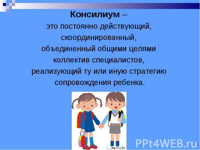 Консилиум – это постоянно действующий, скоординированный, объединенный общими целями коллектив специалистов, реализующий ту или иную стратегию сопровождения ребенка.