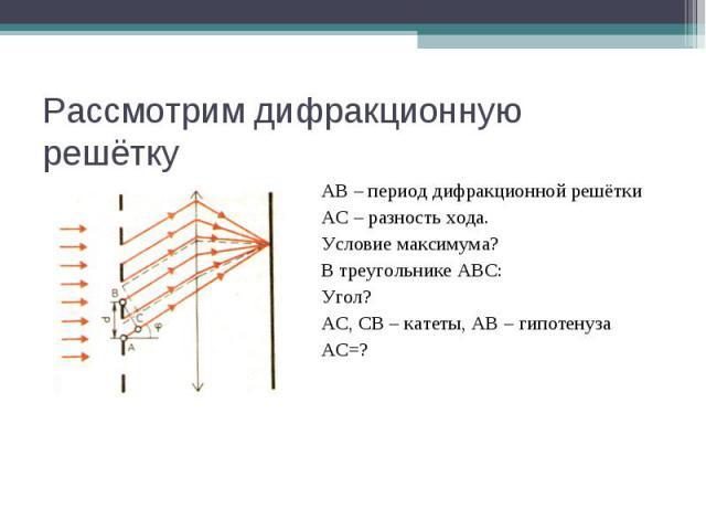 Рассмотрим дифракционную решётку АВ – период дифракционной решётки АС – разность хода. Условие максимума? В треугольнике АВС: Угол? АС, СВ – катеты, АВ – гипотенуза АС=?