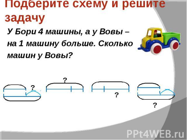 Подберите схему и решите задачуУ Бори 4 машины, а у Вовы – на 1 машину больше. Сколько машин у Вовы?