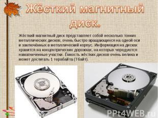Жёсткий магнитный диск. Жёсткий магнитный диск представляет собой несколько тонк