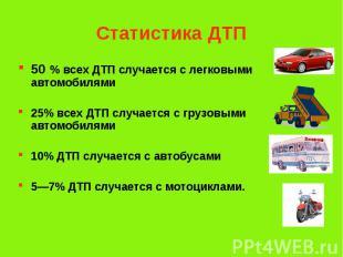 Статистика ДТП 50 % всех ДТП случается с легковыми автомобилями 25% всех ДТП слу