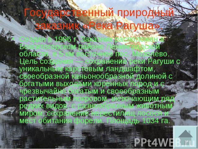 Государственный природный заказник «Река Рагуша». Создан в 1996 г. Заказник расположен в Бокситогорском районе Ленинградской области, в 5 км восточнее пос. Мозолево. Цель создания — сохранение реки Рагуши с уникальным карстовым ландшафтом, своеобраз…