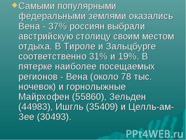 Самыми популярными федеральными землями оказались Вена - 37% россиян выбрали австрийскую столицу своим местом отдыха. В Тироле и Зальцбурге соответственно 31% и 19%. В пятерке наиболее посещаемых регионов - Вена (около 78 тыс. ночевок) и горнолыжные…