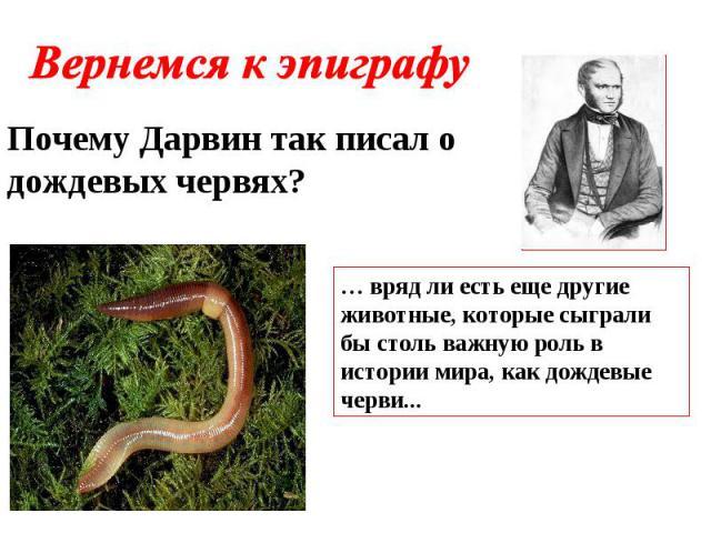 Вернемся к эпиграфу Почему Дарвин так писал о дождевых червях? … вряд ли есть еще другие животные, которые сыграли бы столь важную роль в истории мира, как дождевые черви...