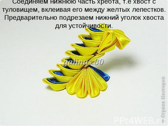Соединяем нижнюю часть хребта, т.е хвост с туловищем, вклеивая его между желтых лепестков. Предварительно подрезаем нижний уголок хвоста для устойчивости.