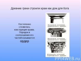 Древние греки строили храм как дом для бога Постепенно сложилась конструкция хра