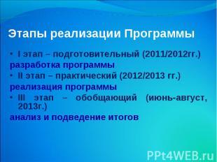 Этапы реализации Программы I этап – подготовительный (2011/2012гг.) разработка п