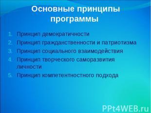 Основные принципы программы Принцип демократичности Принцип гражданственности и