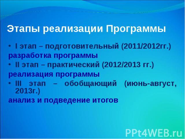 Этапы реализации Программы I этап – подготовительный (2011/2012гг.) разработка программы II этап – практический (2012/2013 гг.) реализация программы III этап – обобщающий (июнь-август, 2013г.) анализ и подведение итогов