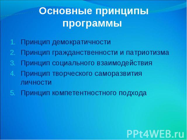 Основные принципы программы Принцип демократичности Принцип гражданственности и патриотизма Принцип социального взаимодействия Принцип творческого саморазвития личности Принцип компетентностного подхода