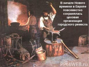 В начале Нового времени в Европе повсеместно сохранялась цеховая организация гор
