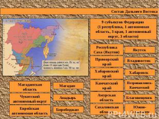 Состав Дальнего Востока 9 субъектов Федерации (1 республика, 1 автономная област
