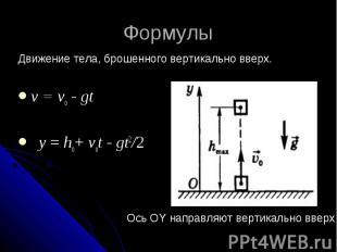 Формулы Движение тела, брошенного вертикально вверх. v = vо - gt y = hо+ vоt - g