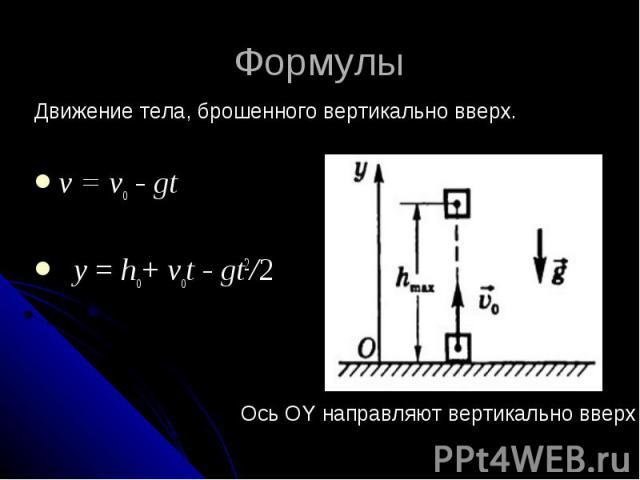 Формулы Движение тела, брошенного вертикально вверх. v = vо - gt y = hо+ vоt - gt2/2