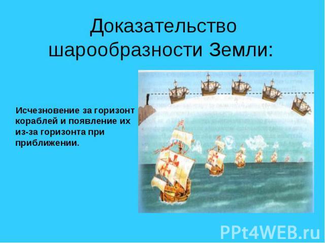 Доказательство шарообразности Земли: Исчезновение за горизонт кораблей и появление их из-за горизонта при приближении.