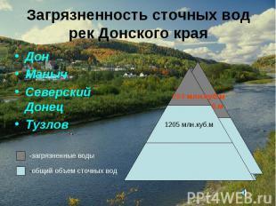 Загрязненность сточных вод рек Донского края Дон Маныч Северский Донец Тузлов