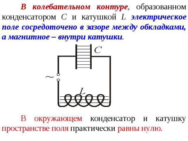 В колебательном контуре, образованном конденсатором С и катушкой L электрическое поле сосредоточено в зазоре между обкладками, а магнитное – внутри катушки. В окружающем конденсатор и катушку пространстве поля практически равны нулю.