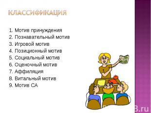 Классификация 1. Мотив принуждения 2. Познавательный мотив 3. Игровой мотив 4. П