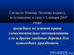 Согласно Новому Лесному кодексу, вступившему в силу с 1 января 2007 года: гражда