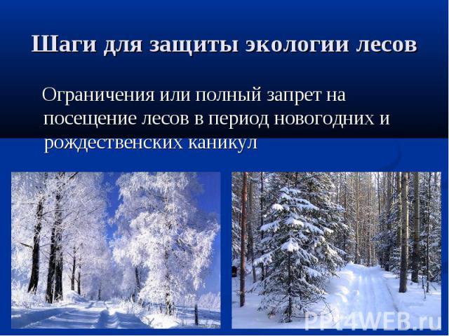 Шаги для защиты экологии лесов Ограничения или полный запрет на посещение лесов в период новогодних и рождественских каникул