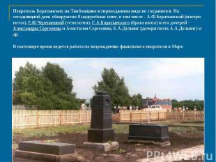 Некрополь Боратынских на Тамбовщине в первозданном виде не сохранился. На сегодн