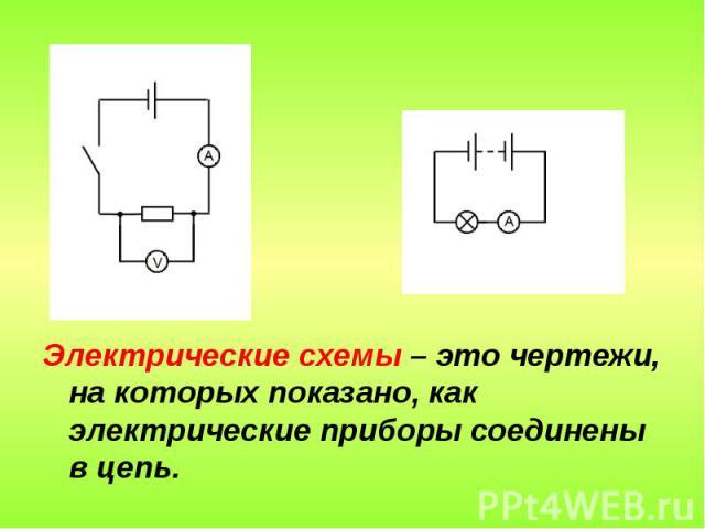 Электрические схемы – это чертежи, на которых показано, как электрические приборы соединены в цепь.