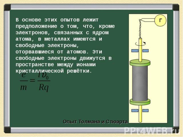 В основе этих опытов лежит предположение о том, что, кроме электронов, связанных с ядром атома, в металлах имеются и свободные электроны, оторвавшиеся от атомов. Эти свободные электроны движутся в пространстве между ионами кристаллической решётки.