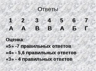 Ответы Оценка: «5» -7 правильных ответов «4» - 5,6 правильных ответов «3» - 4 пр