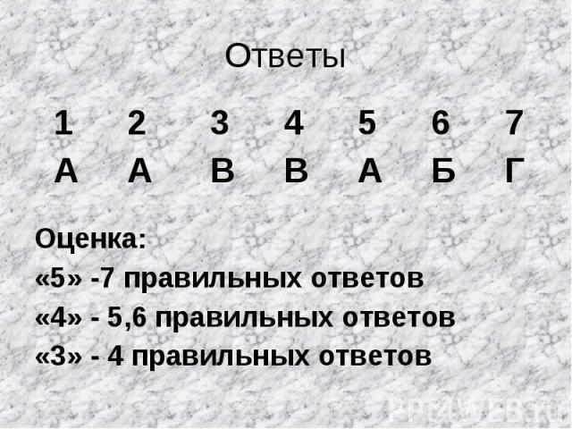 Ответы Оценка: «5» -7 правильных ответов «4» - 5,6 правильных ответов «3» - 4 правильных ответов