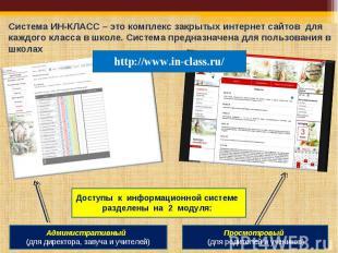 Система ИН-КЛАСС – это комплекс закрытых интернет сайтов для каждого класса в шк