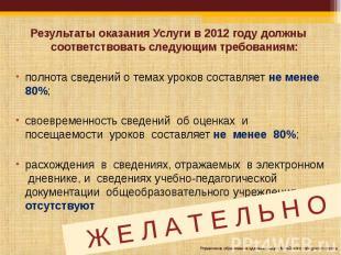 Результаты оказания Услуги в 2012 году должны соответствовать следующим требован
