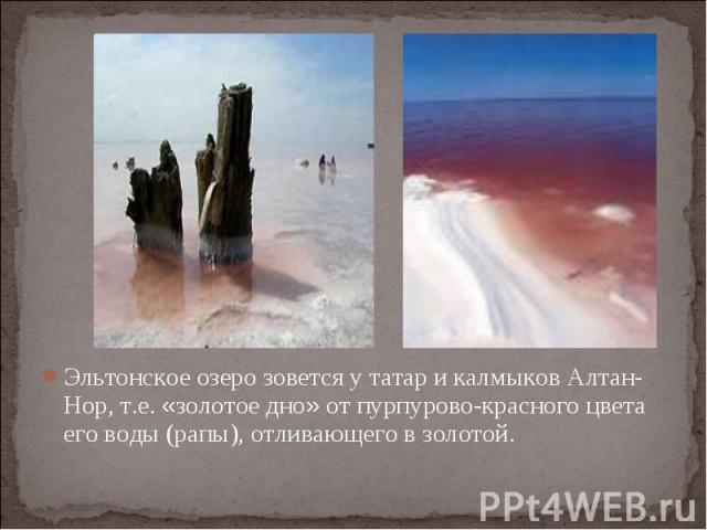 Эльтонское озеро зовется у татар и калмыков Алтан-Нор, т.е. «золотое дно» от пурпурово-красного цвета его воды (рапы), отливающего в золотой.