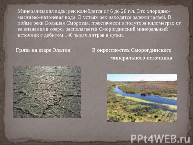 Минерализация воды рек колеблется от 6 до 26 г/л. Это хлоридно-магниево-натриевая вода. В устьях рек находятся залежи грязей. В пойме реки Большая Сморогда, практически в полутора километрах от ее впадения в озеро, располагается Сморогдинский минера…
