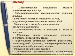 Основные требования к анализу эпизода Соответствие содержания анализа предложенн
