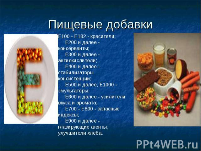 Пищевые добавки Е100 - Е182 - красители; Е200 и далее - консерванты; Е300 и далее - антиокислители; Е400 и далее - стабилизаторы консистенции; Е500 и далее, Е1000 - эмульгаторы; Е600 и далее - усилители вкуса и аромата; …
