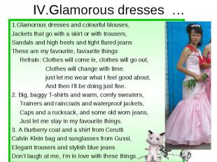 IV.Glamorous dresses … 1.Glamorous dresses and colourful blouses, Jackets that g