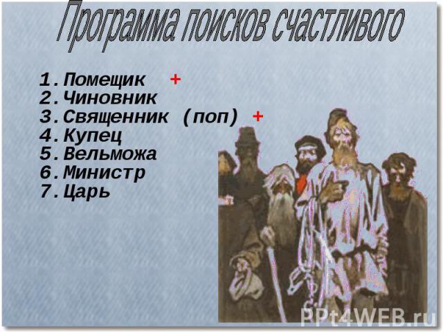 Программа поисков счастливого 1.Помещик + 2.Чиновник 3.Священник (поп) + 4.Купец 5.Вельможа 6.Министр 7.Царь