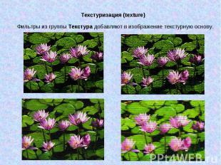 Текстуризация (texture) Фильтры из группы Текстура добавляют в изображение текст