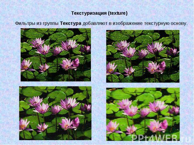 Текстуризация (texture) Фильтры из группы Текстура добавляют в изображение текстурную основу.