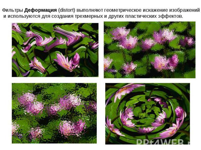 Фильтры Деформация (distort) выполняют геометрическое искажение изображений и используются для создания трехмерных и других пластических эффектов.