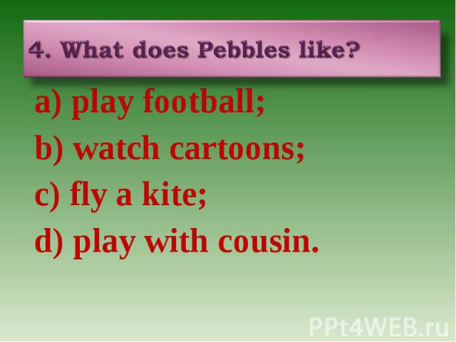 4. What does Pebbles like? a) play football; b) watch cartoons; c) fly a kite; d) play with cousin.