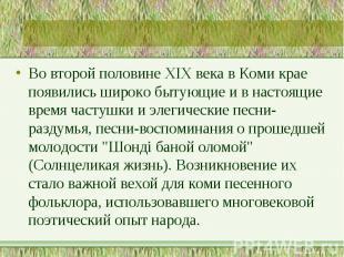 Во второй половине XIX века в Коми крае появились широко бытующие и в настоящие