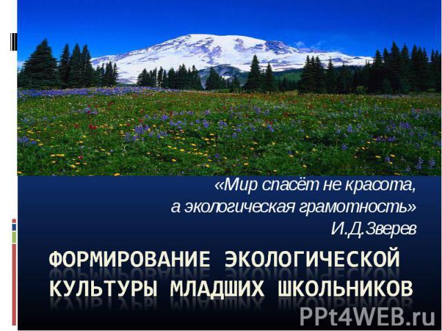 «Мир спасёт не красота, а экологическая грамотность» И.Д.Зверев Формирование экологической культуры младших школьников