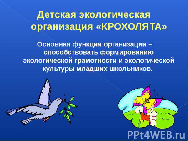Детская экологическая организация «КРОХОЛЯТА»Основная функция организации – способствовать формированию экологической грамотности и экологической культуры младших школьников.