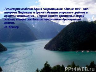 Геометрия владеет двумя сокровищами: одно из них - это теорема Пифагора, а друго